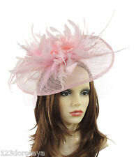 Pale Pink Fascinator Hat for weddings/ascot/proms With Black Headband