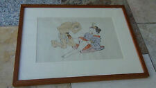 EARLY 20c JAPANESE SHUNGA WOODBLOCK PRINT GALLERY FRAMED  # 8 out of8