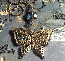 Large Butterfly Blue Crystal Ceiling Fan Pull~Hook on Chain/Lamp/Auto*~