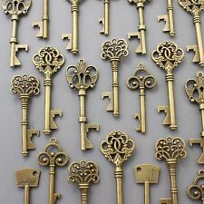150Pcs Antiqued Brass Skeleton Keys Bottle Openers Mix Wedding Favor Decorations