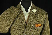 "Vtg Harris Tweed Oatmeal Brown Country Tailored Hacking Jacket 42"" #616 UNIQUE"