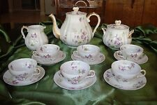 HAVILAND LIMOGES SCHL.1013B TEA / COFFEE SET 6 CUPS POT SUGAR CREAMER, VIOLETS