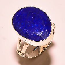 FACETED LAPIS LAZULI 925 STERLING SILVER RING SIZE 8 US