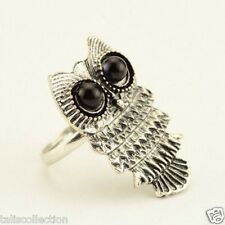 Silver Tone Adjustable Vintage Retro Style Cute Owl Shape Ring Round Black Eyes