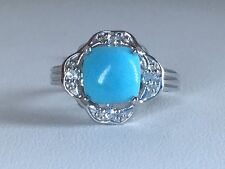 Size 8 Sleeping Beauty Turquoise & White Topaz Sterling Silver Ring TGW 2.68 cts