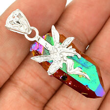 Fairy - Titanum Aura Quartz 925 Sterling Silver Pendant Jewelry SP219276