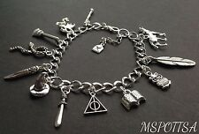 Harry Potter Books Charm Bracelet w/ Charms Deathly Hallows Dragons Wizards Owls