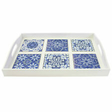Tea Serving Tray Moroccan Wooden Based Ceramic Tiled Diner Tray