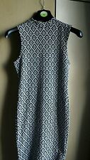 new look black and white diamond dress size 10 bnwt