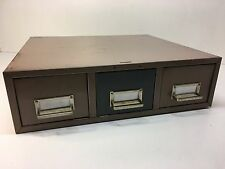 Vintage Library Division 3 Drawer Card Catalog Cabinet MCM Tan  Grey w/Pulls