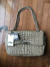 Aimee Kestenberg Collection Latte Leather Top Stitched Flap Handbag New