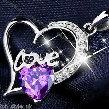 S925 Sterling Silver Purple Amethyst Crystal Diamond Heart Necklace Gift for Her