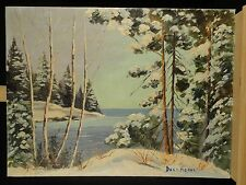 Vintage Canadian Landscape Winter Georgian Bay Oil Painting Impressionist Snow