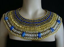 Ancient Egyptian Queen Cleopatra Beaded Collar Necklace 9 Blue Scarabs Halloween