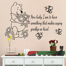 Wall Decals Kids Winnie the Pooh Vinyl Decal Quote How Lucky I Am Nursery Decor