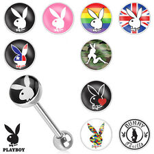 "10 Pc Licensed 14g 5/8"" Playboy Logo Tongue Rings 316L Surgical Steel Barbells"