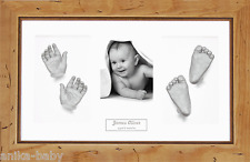 New Baby Casting Kit Twins 3D Casts Christening Gift Rustic Wooden Photo Frame