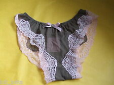 AGENT PROVOCATEUR * COFFEE & PINK LACE CARAMBA BRIEFS SIZE MEDIUM UK 10-12 BNWT