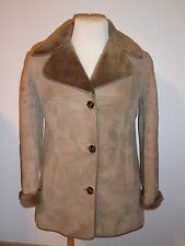 Genuine Ladies Brown Sheepskin Shearling Lambskin Jacket Coat Size 8 - 10