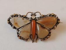 ANTIQUE GEORGIAN GOLD & AGATE BUTTERFLY BROOCH/PIN C.1790 (18TH CENTURY)