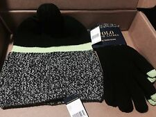 $116! NWT Mens Polo Ralph Lauren Grey Black Green Wool 3-PC Touch Gloves/Hat SET