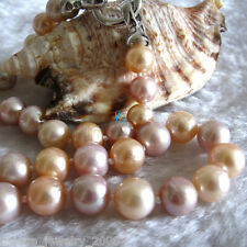 """18"""" 9-11mm Peach Pink Lavender Kasumi Pearl Freshwater Pearl Necklace"""