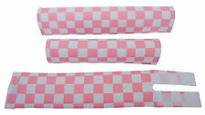 FLITE old school BMX bicycle padset foam racing pads CHECKERBOARD PINK WHITE