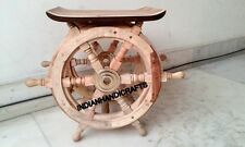 Marine Natural Wood Boat Wheel Steering Ship Wheel 18'' Side decor Coffee Table