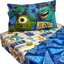 Disney Monsters Inc Kids Boys Twin 3pc Sheet Set Pillowcase Fitted & Flat Sheets