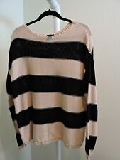 NWT- $75 Ann Taylor 100% Cotton Beige/Pink&Black Striped Crew-neck Sweater-Sz-L