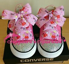 Infants Customised Bling Peppa Pig Pink Converse Sizes 2 3 4 5 6 7 8 9 10