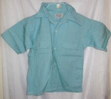 DEADSTOCK Vintage 1950s Boys Childrens Shirt Blue Rayon Harvin  NWT chest 32 in