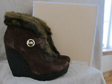 MICHAEL KORS Lara Wedge Mocha Platform Fur Suede Booties Boots Shoes 9.5 M NWB