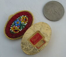 Vtg Antique Micro Mosaic Italy Italian Glass Tile Pill Box Gold Metal Oval Old