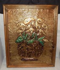 Hand Hammered Copper 3D Vase of Flowers Framed Picture Wall Art