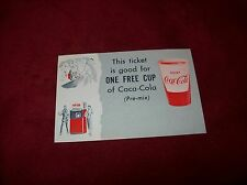 Vintage One Coca Cola Coupon, One Free Cup of Coke Pre-Mix, Great Advertising!