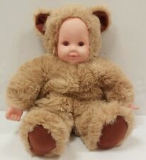 "VINTAGE Anne Geddes 16"" TAN Teddy Bear Baby Doll Stuffed Toy Pink Eyes 1997"