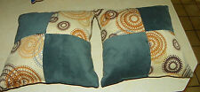 Pair of Teal Beige Abstract Circle Print Decorative Throw Pillows  18 x 18