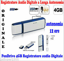 PEN DRIVE RECORDER MINI MICRO REGISTRATORE USB 4GB VOCALE AUDIO SPIA CIMICE SPY