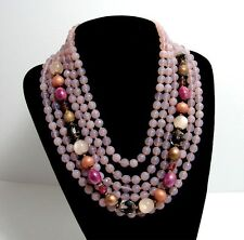 VINTAGE ORNELLA ITALY MULTI STRAND PINK OPALESCENT GLASS BEAD NECKLACE
