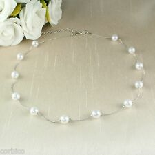 N1 Wedding Bridal Prom Silver Rhodium Plated Delicate Beaded Faux Pearl Necklace