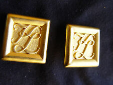 Karl Lagerfeld Signed Vintage Haute Couture square monogram Earrings @@