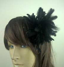 black feather flower fascinator millinery hair clip wedding piece ascot race
