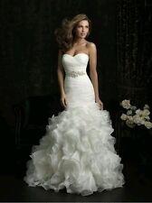 Nuevo Organza Blanco Vestido para Boda Traje de novia estilo sirena talla 6-18 Reino Unido