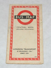 VINTAGE LONDON TRANSPORT BUS MAP CENTRAL AREA ENGLAND DATED 1959