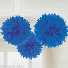3 Classic Royal Blue Birthday Party Hanging Fluffy Tissue Paper Ball Decorations