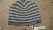 MARC JACOBS TAUPE/ BLUE STRIPED WITH GREY BORDER KNITTED 4 LEAF  BEANIE ONE SIZE