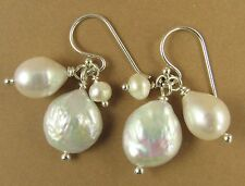 Pearl and silver cluster earrings. Real pearls. Sterling silver. Handmade.