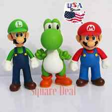 New 3pcs Nintendo Super Mario Bros Luigi Mario Yoshi Action Figures Toys USA