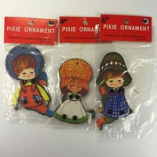 3 Pixie Christmas Tree Ornaments Holiday Children Clorwood Japan Paper Puppet
